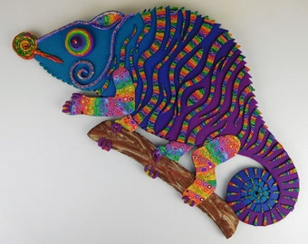 Chameleon Polymer Clay Wall Art or Clock in Crazy Stripe Purple, Blue and Rainbow