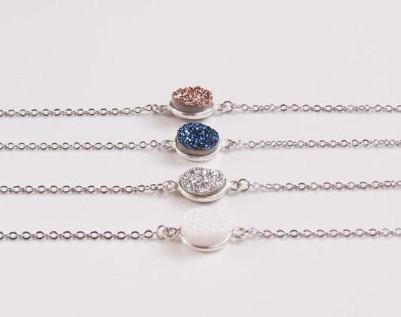 Druzy Silver Bracelet | Druzy Bracelet | Blue and Silver Druzy Bracelet | Boho Jewelry Ideas |  Druzy Stone Bracelet | White Druzy Bracelet