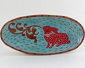 Red Rabbit Oval Bowl, Ceramic Art Bowl, Ceramic Bowls, Decorative Serving Tray, Animal Art, Kitchen Decor, Rabbits, Colorful Serving Bowls