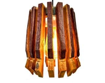 "Wine Barrel Pendant Light - CRAFTSMAN - ""Cuspidate"" - RECYCLED"