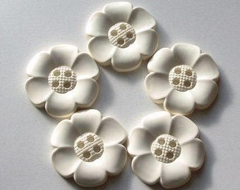 Lot of 5 Extra Large Flower Buttons - Off  White