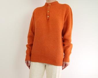 VINTAGE Orange Sweater 1980s Wool Knit
