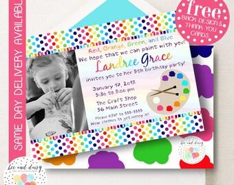 Art Party Invitation, Art Birthday Invitation, Art Party, Girl Birthday, Art Invite, Painting Party Invitation, Printable by BeeAndDaisy