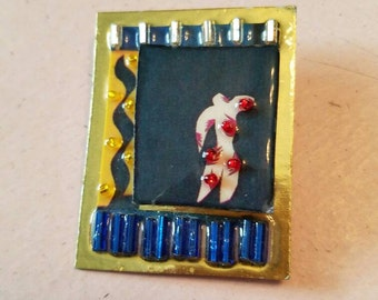 Vintage Bonnie Kondor Matisse & Me Museum of Modern Art MMA Brooch Pin Mixed Media Beads 1980s Signed