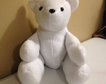 White Fleece Teddy Bear, Bear, Stuffed Animal, Stuffed Toy