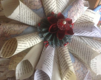 12 Inch Paper Cone Book Page, Map, or Sheet Music Wreath