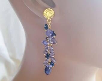 20% Off Mothers Day Sale Gemstone Cluster Post Earrings Iolite Sapphire Tanzanite Post Earrings On Gold Vermeil