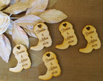 Wood Cowboy Boots Wedding Favors Personalized Set of 175