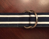 Boy's Adjustable Navy and White Striped Ribbon Belt with Sliver D-Rings