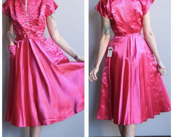 1950s Dress // Wendy Iris Jrs Satin Dress // vintage 50s dress // never worn with tags