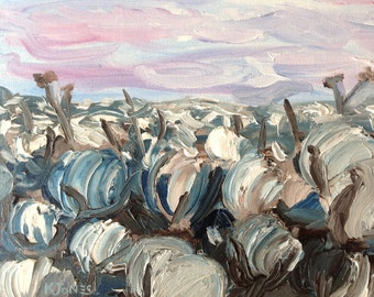 Cotton Field | 8 x 10 inch | Expressionist art Cotton Farm Painting South southern Louisiana Mississippi billowy fluffy bolls | small canvas