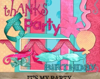 It's My Party digital papers and elements kit. Scrapbook invitations supplies cardmaking birthday card invitation