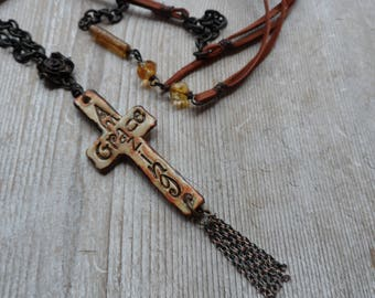 One of a kind handmade cross necklace Amazing Grace tassel necklace
