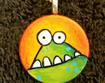 Foggy Monster OOAK Hand Painted Pendant