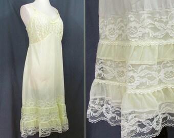Lacy Yellow Full Slip- Aristicraft 1960s lace, nylon & cotton ruffled flounce slip - Sz 36
