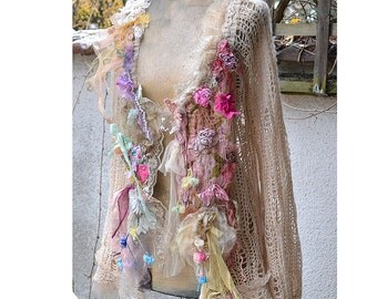 RESERVED Beautiful Art To Wear Shabby Chic Pastel Delicate Soft Sweater/Jacket ROSES Of COURSE Fairy Boho Antique  Antoinette Tattered