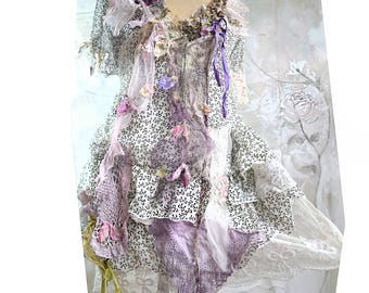 Unique Art to Wear Feminine Floaty White Tunic Printed With Tiny Bows Country Old Doilies BLOOMONG CHERRY Old Millinery Fairy Boho Tattered