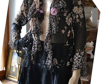 Unique Floaty Feminine Transparent Hippie Black Jacket PASTEL FLOWERS Boho Fairy  Tribal Tattered Gipsy