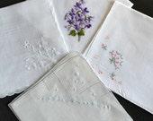 Lot of 4 Embroidered Hankies Handkerchief Machine & Scallop Edges White Cotton Linen Pristine Wedding Bridal Bridesmaids Gifts Sympathy