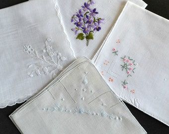 Embroidered Hankies Handkerchief 4 Count Machine & Scallop Edges Cotton Linen Washed Pressed Sized Perfect Wedding Bridal Sympathy