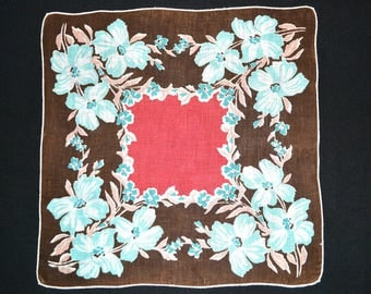 VINTAGE FLORAL HANKIE 1940s Large Stylized Aqua Flowers Each Corner Salmon Red Center Brown Linen White Hand Rolled Hem Excellent Condition