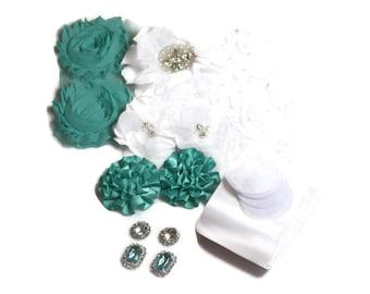 DIY Maternity Sash Kit - Aqua & White - Gender Reveal Party - Maternity Photo Shoot - DIY Bridal Sash - Baby Girl - Baby Boy