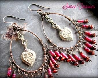 NEW Gypsy Hoop Earrings, Rustic Kuchi Earrings, Copper Wire Wrapped Hoops, Bellydance Jewelry, Tribal Earrings, Kuchi Jewelry