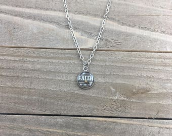 Matthew 17:20 Faith Necklace - Silver with Dark Wood Background