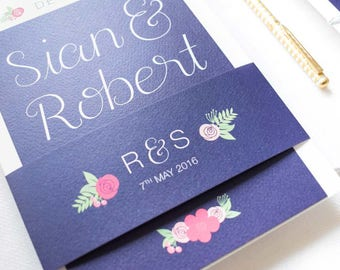 ADD ON: Belly Band | Rhiannon Wedding Stationery Collection | Floral Hand Lettered Wedding Stationery