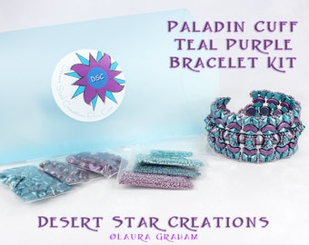 Paladin Cuff Bracelet Bead Kit in Teal Purple, Arcos Par Puca, DiamonDuo, Tipp, Swarovski Crystal, Beadweaving Bracelet Kit, Beaded Cuff Kit