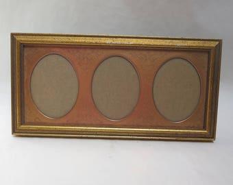 Vintage Triple Wood picture frame holds 3 oval photos easel back