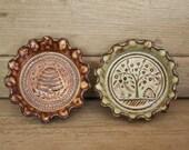 Rustic Folk Art Dish Duo - Beehives