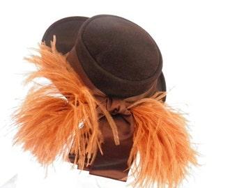 Vintage brown tilt hat, 1930s 1940s, Bullocks Wilshire, ostrich feathers