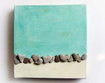 Pebble Art, Heart rocks, nature Inspired Wall Art, Beach House Decor, Pebble Art Beach,  Housewarming gift, Unique Israel heart shaped rocks