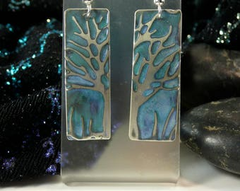 Tree jewelry tree of life,earrings, embossed jewelry green patina, handmade earrings, moon heart studios, nature jewelry, accessories trees