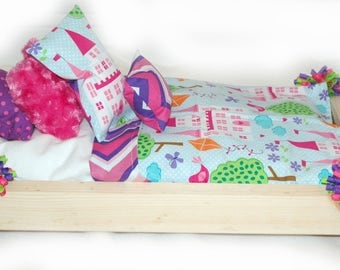 OOAK Single Doll Bed - Pincess American Made Girl Doll Bed - Fits AG Doll and 18 inch dolls
