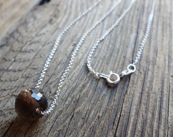 Sterling Silver Necklace with a faceted smocky quartz gemstone