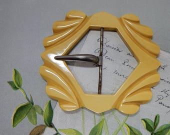 Vintage Carved Butterscotch Bakelite Belt or Sash Buckle    OAN20