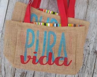 5+ Pura Vida Costa Rica - Custom Destination Wedding Welcome Burlap Beach Tote Bags - Handmade