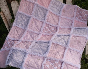 Baby Girl Rag Crib Quilt- Sweet and Modern Wee Sparkle Bows and Hearts in Confection Pink and Cloud Gray with Gold Ready to Ship
