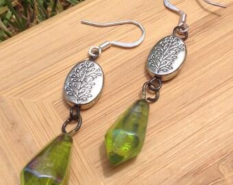 Natural fern retro inspired 60s 70s dangle boho chic green goddess Earrings
