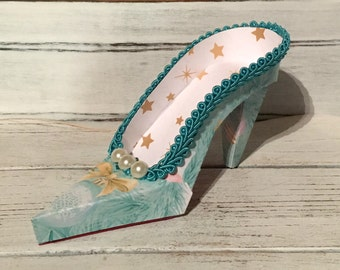 Turquoise Christmas Print High Heel Paper Keepsake Shoe, Art Sculpture, Decoration, Original Design