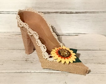 Paper Shoe Keepsake, Burlap Sunflower High Heel Paper Keepsake Shoe, Art Sculpture, Decoration, Centerpiece, Original Design