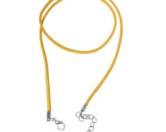 SALE - 100 pcs. Yellow Velvet Suede Cord Necklaces - 18 1/8 inch - 46cm