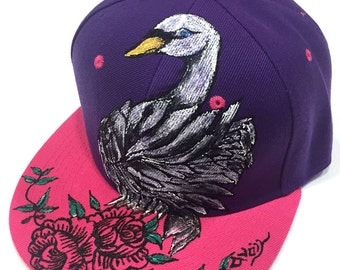 Handpainted Swan Pink and Purple contrast Snapback with adjustable band