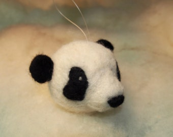 Panda Bear - Felted Wool Sculpture - Panda Ornament