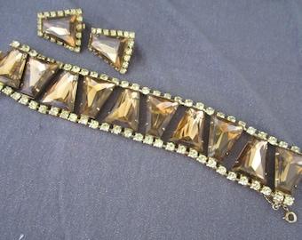 rhinestone set, vintage rhinestone, chunky set, vintage set, collector set, collector jewelry, vintage collectible, brown rhinestone