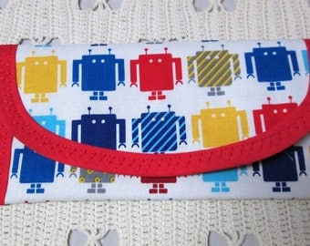 Bags & Purses, Wallet Money clip, Robot LEGO Fabric, 7 x 3 Clutch Envelope, Women BOYs Girls children lined red, Blue Yellow Red Stripes