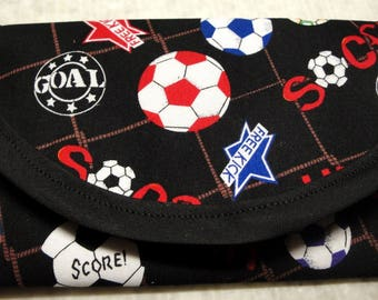 Soccer ball motif black fabric Wallet money clip Bags & Purses, Clutch Envelope 7 1/2 x 3 1/2, Handbag Accessory, Tickets, sewinggrammax