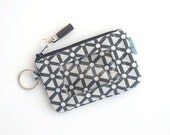 Gray ID Wallet Keychain - Minimalist Wallet - Credit Card Wallet - Birthday Gift for Her - Handmade Wallet by Zookaboo - Ready to Ship